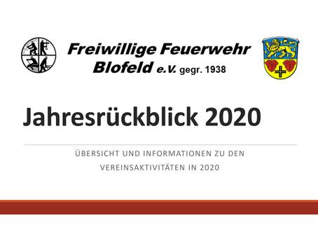 Jahresrückblick 2020 der Feuerwehr Blofeld