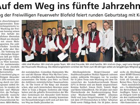 40 Jahre Blofelder Musikzug: Bericht der Wetterauer Zeitung vom 18.12.2019