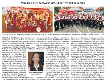 40 Jahre Blofelder Musikzug: Bericht der Wetterauer Zeitung vom 17.12.2019