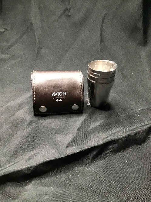4 stainless shot glasses w/case