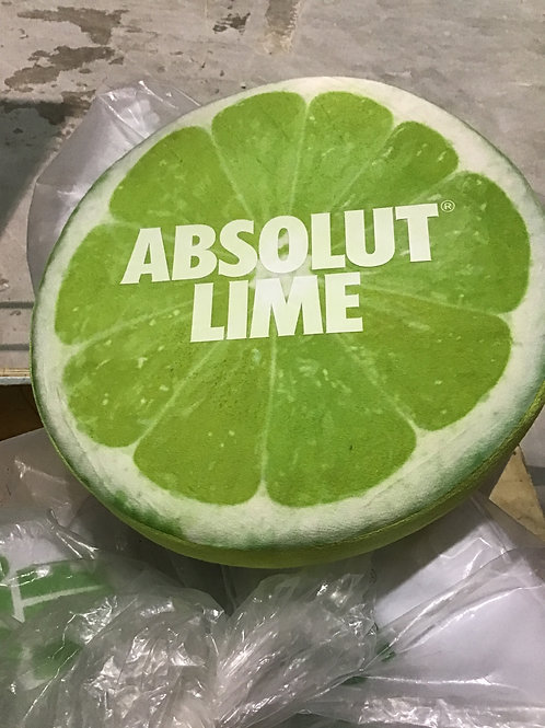 Round Absolut lime pillow