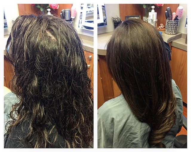 Before & after with _brazilianblowout!  Becca now has frizz-free, silky, smooth hair that will last