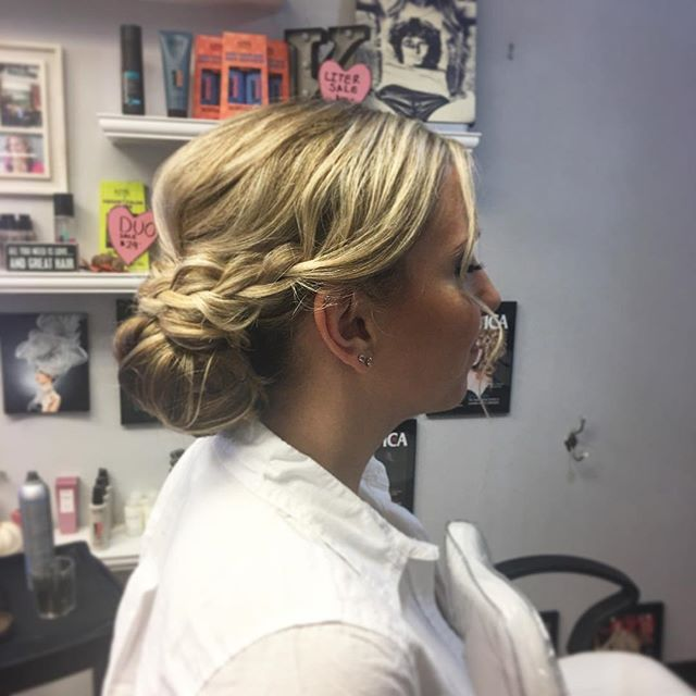 Bridesmaid Updo today 💁🏼 by Kiara #wedding #braid #softcurls #hair #hairstyle #wedding #boston #bo