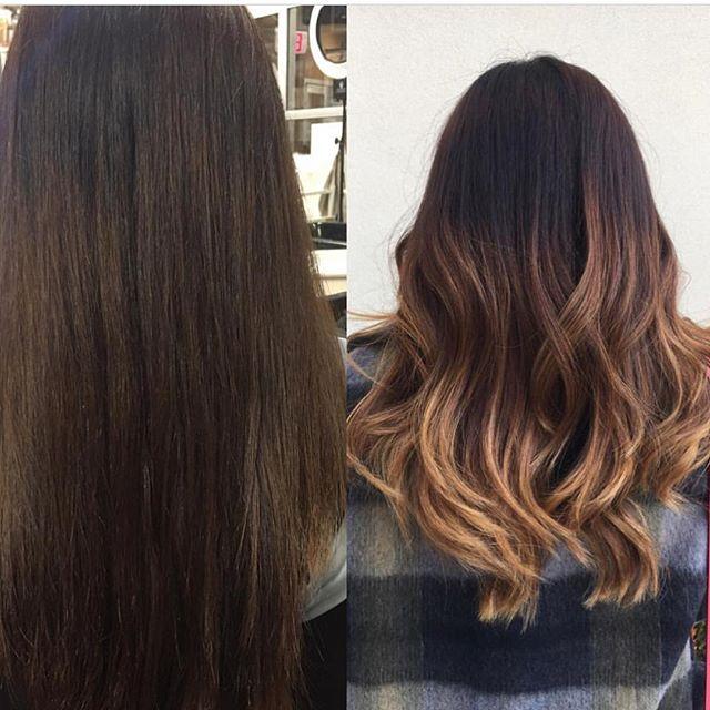 Before & after by Krista! 💁🏻#kiaramooneyhmua #solaboston #solasalonsboston #workflow #balayage #om
