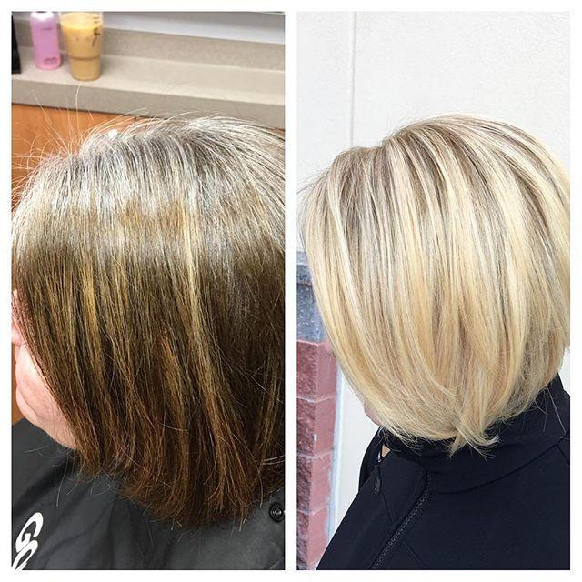 😍 Transformation 😍 Tuesday 😍 with _olaplex 💁🏼 Enjoy your new blonde Christine! #kiaramooneyhmua