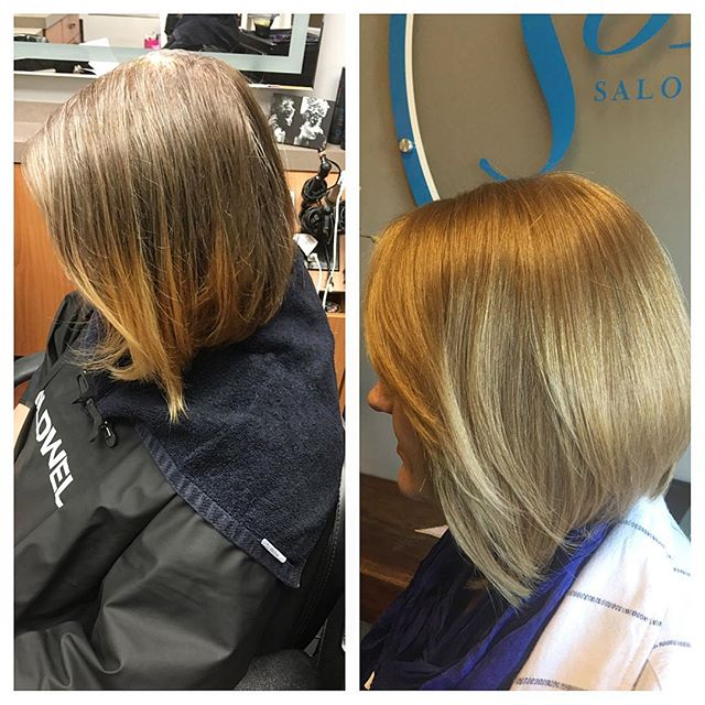 Before & after on this beautiful blonde 💁🏼 Lifted & toned with Goldwell #americansalon #goldwell #