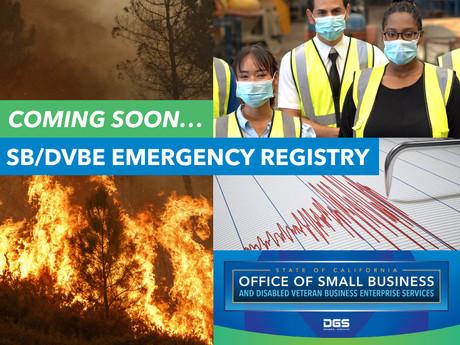 SB/DVBE Emergency Registry: COMING SOON!