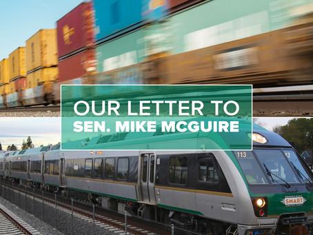Our letter to Sen. McGuire re. Rail Transportation Development