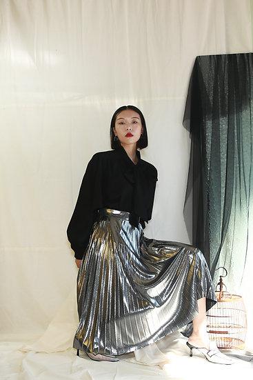 飄帶領開衩袖設計女衫-黑