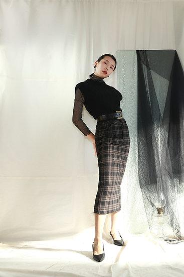 /最後數量/毛呢格紋開衩長窄裙