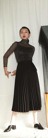 漫天星空網紗上衣-黑 修身百摺長裙-黑
