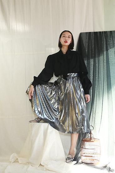 金屬面百摺裙-銀