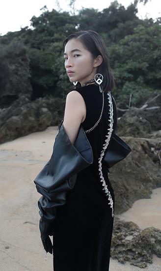 Sequin midi dress with mirror spine