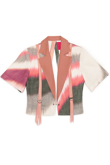 Abstract print cropped blazer with back open