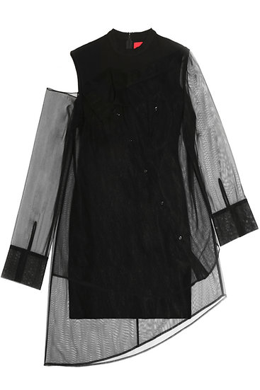 Sheer shirt knit dress