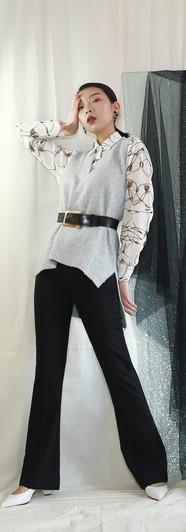 鎖鏈雪紡襯衫 細柔灰針織V領背心 高腰微彈落地西裝褲-黑