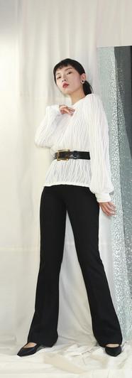 立體皺褶純棉長袖衫 高腰微彈落地西裝褲-黑