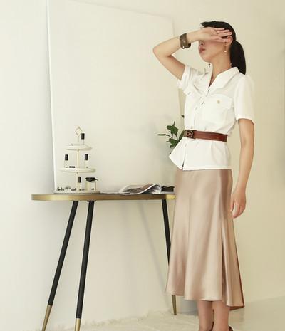 復古泡袖V領衫-短袖 絲光魚尾裙-香檳