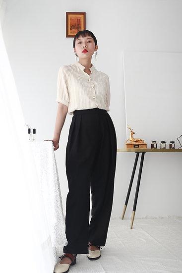 /預購享9折/寬版斜釦打褶西裝褲