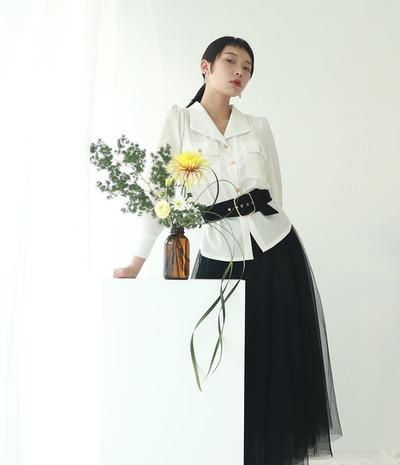 復古泡袖V領衫-長袖款 收腰份量感長紗裙-黑
