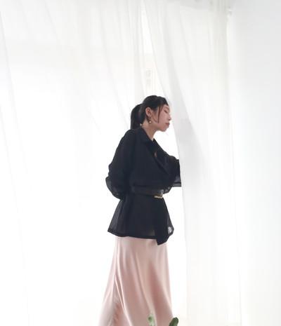 絲光魚尾裙-香檳