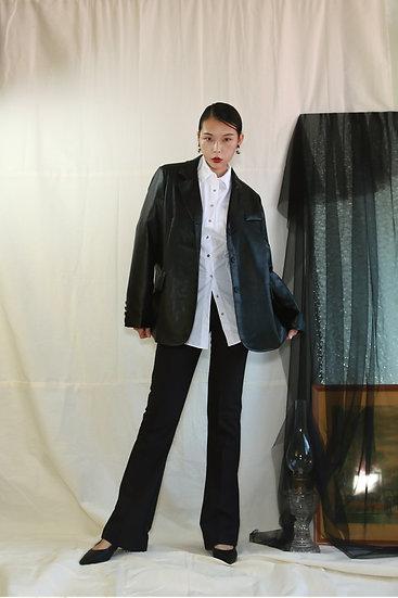 寬鬆版經典西裝皮外套-黑