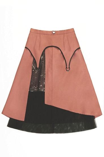 Gartered midi skirt