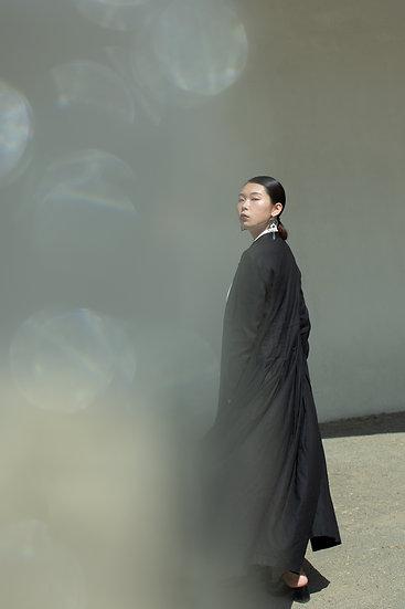 /預購9享折/修身落地洋裝外罩衫-黑