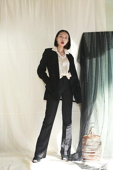 經典復古感雙排釦西裝外套-黑