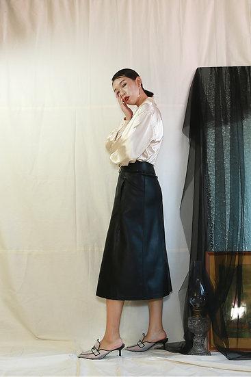 /預購享9折/修身側口袋皮裙-黑