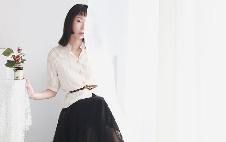 直紋短鬚雪紡衫 收腰份量感長紗裙-黑