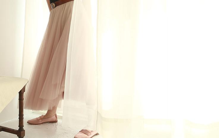 收腰份量感長紗裙-豆沙粉