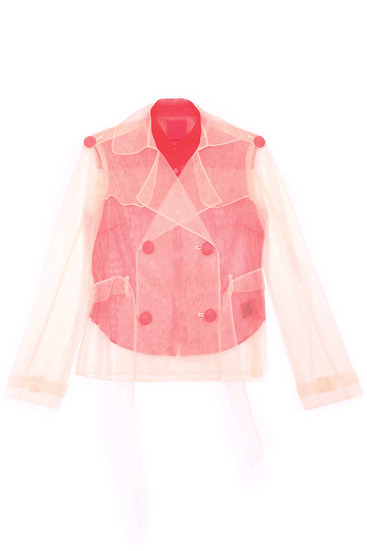 Sheer cropped trench coat with inner shirt