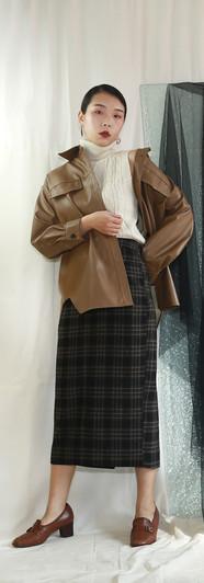 寬鬆版皮革衫 無袖短版高領針織背心 毛呢格紋開衩長窄裙