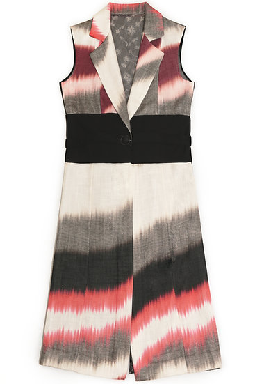 Abstract print lace back long vest