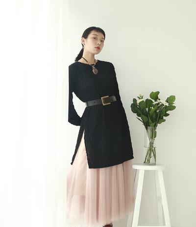 立體縐褶長版側開衩上衣 收腰份量感長紗裙-豆沙粉