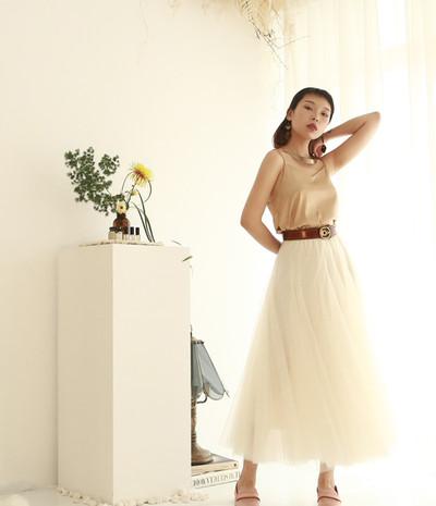 收腰份量感長紗裙-米白