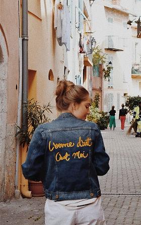 I'am the art work en Francais denim jacket
