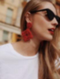 Boucles d oreilles rouge de tres almas statement earrings