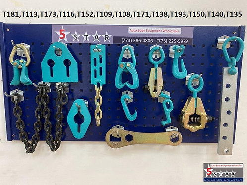 13 PIECE SET PULLING TOOLS AND CLAMPS