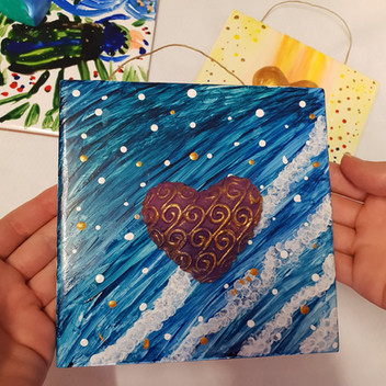 Plaques with hand cast hearts