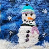 Wet feltmaking  Snowman