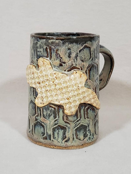 White Lizard on a Blue Iridescent Textured Ceramic Mug