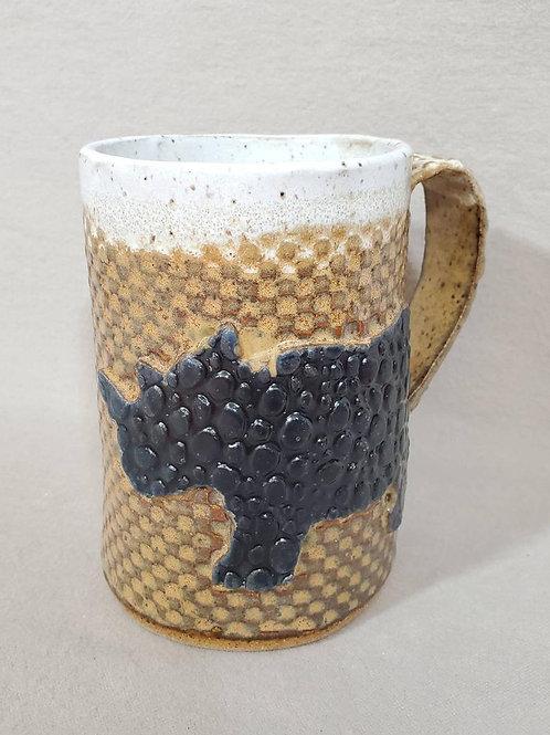 Black Rhino on a Brown Textured Ceramic Mug