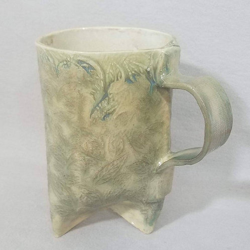 Dripping Green Glaze on a Leaf Textured Mug