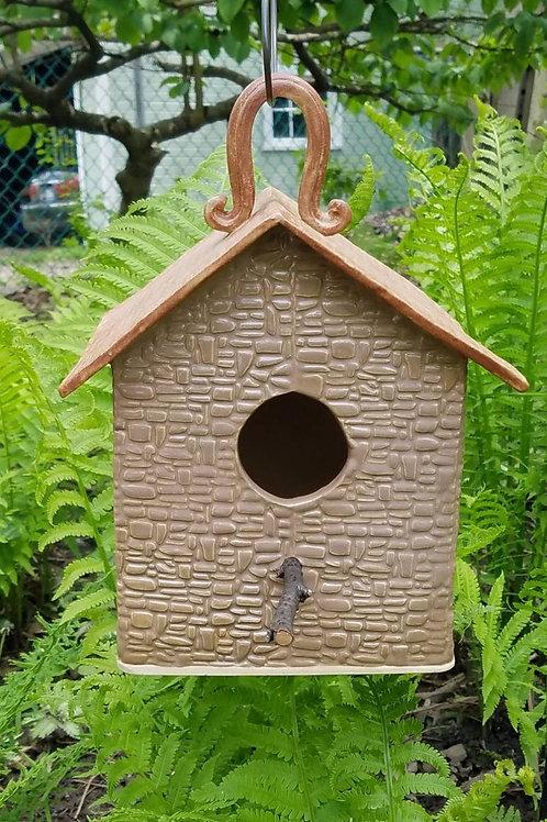 Handmade Ceramic Beige Birdhouse with Copper Roof