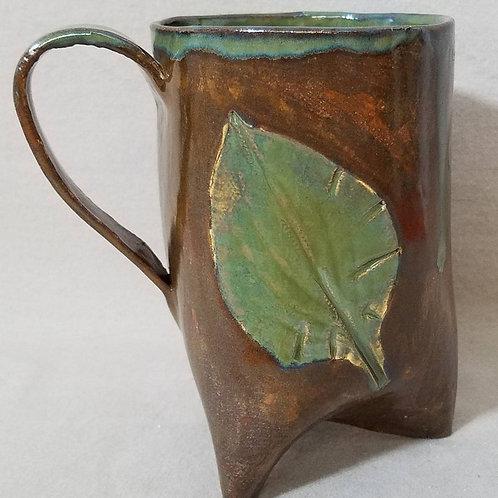 Dripping Green Glaze on Brown, Leaf Print Mug