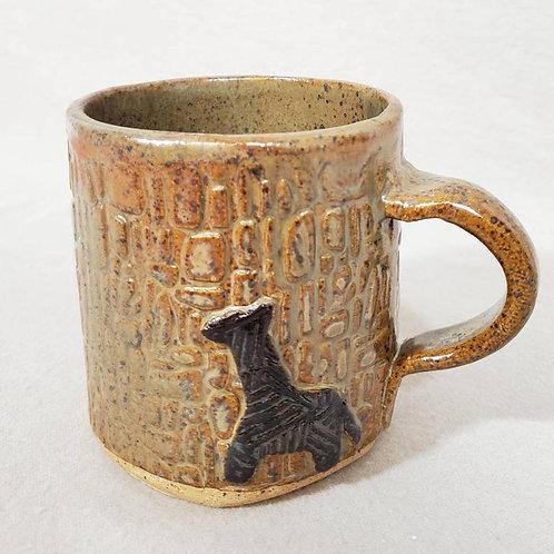Black Giraffe on a Brown Glazed Ceramic Mug