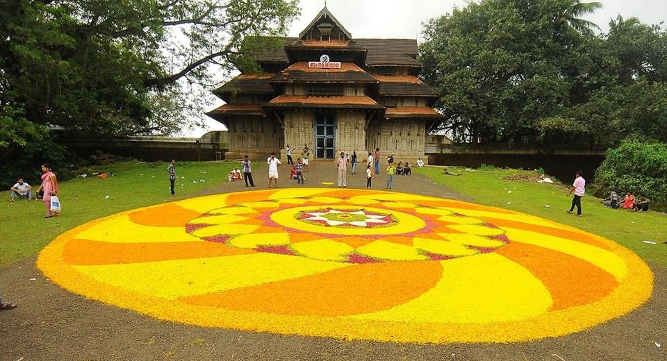 Grand Flower carpet at the Sri Vadakkumnathan Shiva Temple