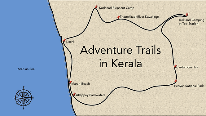 Adventure trails in Kerala itinerary map